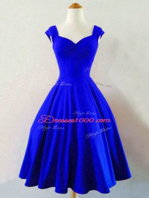 High Class Royal Blue Taffeta Lace Up Bridesmaids Dress Sleeveless Knee Length Ruching