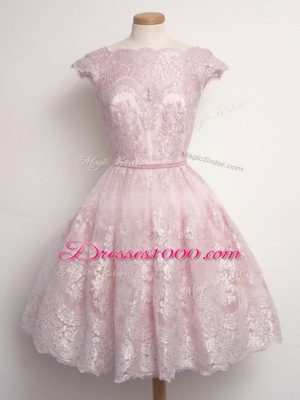 Fabulous Baby Pink A-line Scalloped Cap Sleeves Lace Knee Length Lace Up Lace Damas Dress