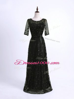 Best Selling Black Column/Sheath Scoop Half Sleeves Lace Floor Length Lace Up Lace and Appliques Mother of Bride Dresses