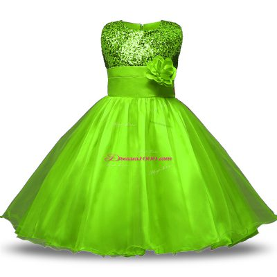 Scoop Sleeveless Zipper Flower Girl Dresses Organza and Sequined