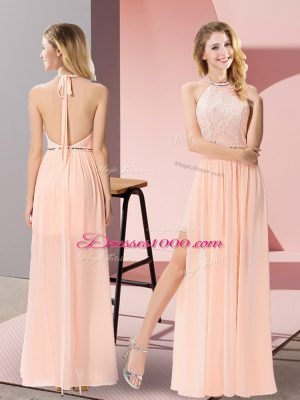 Column/Sheath Junior Homecoming Dress Peach Halter Top Chiffon Sleeveless Floor Length Backless