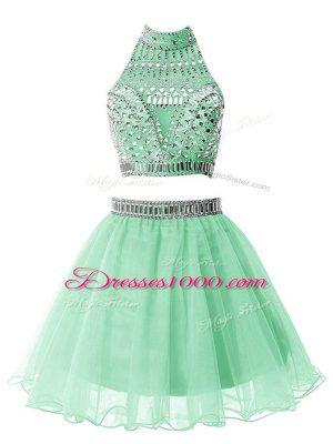 Captivating Apple Green Organza Zipper Quinceanera Dama Dress Sleeveless Knee Length Beading