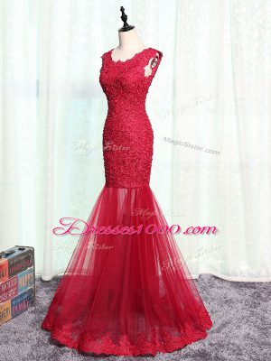 Scoop Sleeveless Tulle Mother of the Bride Dress Lace and Appliques Zipper