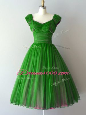 Admirable Cap Sleeves Chiffon Knee Length Lace Up Wedding Party Dress in Green with Ruching