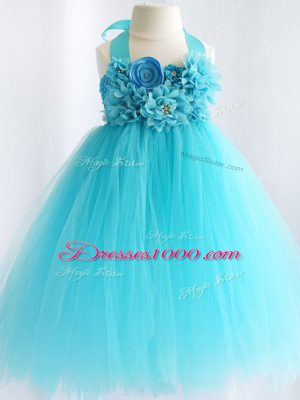 Elegant Sleeveless Hand Made Flower Side Zipper Flower Girl Dress