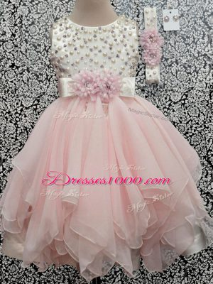 Custom Fit Asymmetrical Baby Pink Kids Pageant Dress Scoop Sleeveless Backless