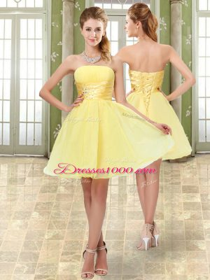 Yellow Homecoming Dress Online Prom and Party and Sweet 16 with Beading and Ruching Strapless Sleeveless Lace Up