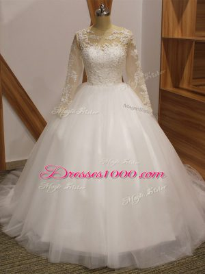 Pretty White Ball Gowns Scoop Long Sleeves Tulle Brush Train Clasp Handle Lace Bridal Gown