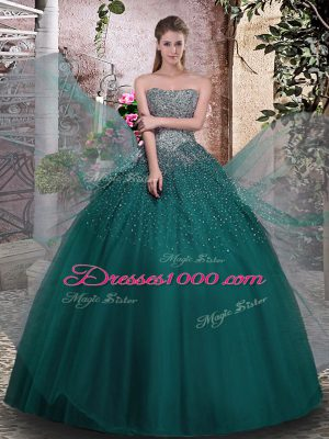 Discount Dark Green Tulle Lace Up Strapless Sleeveless Floor Length Quinceanera Gowns Beading