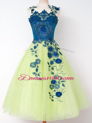 Lovely Yellow Green Wedding Party Dress Prom and Party and Wedding Party with Appliques Straps Sleeveless Zipper