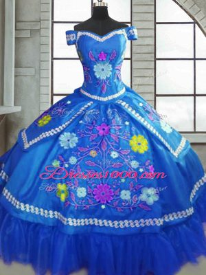 Admirable Blue Lace Up Sweetheart Beading and Embroidery Ball Gown Prom Dress Taffeta Short Sleeves