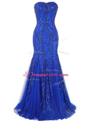 Affordable Tulle Sweetheart Sleeveless Brush Train Lace Up Sequins Womens Evening Dresses in Royal Blue