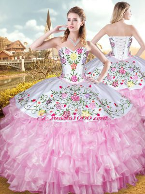 Charming Rose Pink Lace Up Vestidos de Quinceanera Embroidery and Ruffled Layers Sleeveless Floor Length