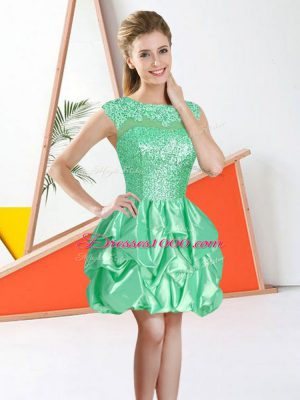 Chic Taffeta Bateau Sleeveless Backless Beading and Lace and Ruffles Bridesmaid Dress in Apple Green