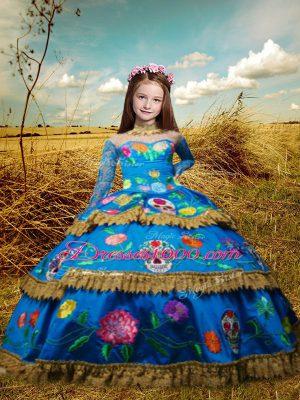 Stunning High-neck Long Sleeves Lace Up Little Girl Pageant Dress Blue Taffeta