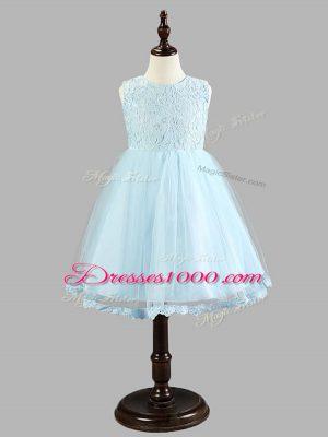 Glamorous Sleeveless Zipper Knee Length Lace and Bowknot Toddler Flower Girl Dress