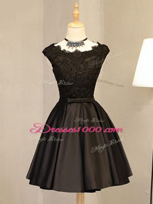Inexpensive Black Sleeveless Lace and Appliques Mini Length Prom Dress