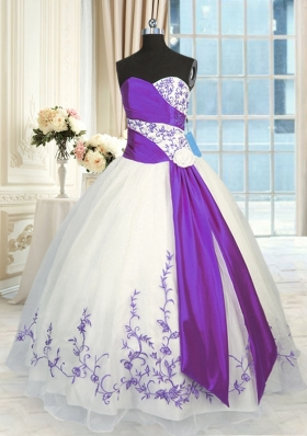 Glittering White And Purple Sweetheart Neckline Embroidery and Sashes|ribbons Quinceanera Dresses Sleeveless Lace Up