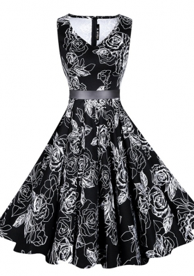 Ideal Black Chiffon Zipper Prom Party Dress Sleeveless Knee Length Sashes|ribbons and Pattern