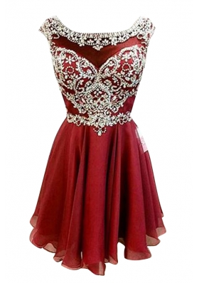 Low Price Burgundy A-line Bateau Cap Sleeves Chiffon Mini Length Zipper Beading and Sashes|ribbons Prom Gown