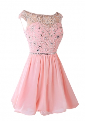 Pink A-line Sashes|ribbons Prom Evening Gown Zipper Chiffon Sleeveless Knee Length