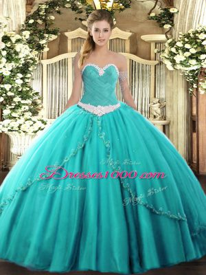 Sweetheart Sleeveless Vestidos de Quinceanera Brush Train Appliques Turquoise Tulle
