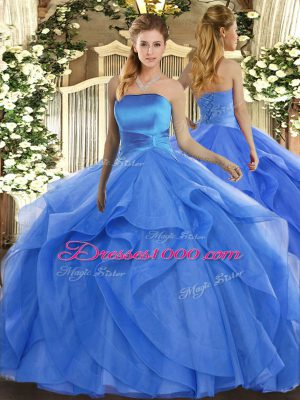 Blue Tulle Lace Up Strapless Sleeveless Floor Length Quinceanera Dresses Ruffles