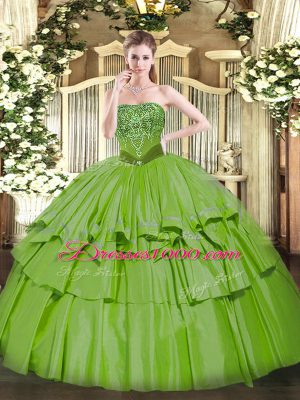 Floor Length Quinceanera Dresses Organza and Taffeta Sleeveless Beading and Ruffled Layers