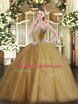 Fashionable Champagne Sweet 16 Dresses Military Ball and Sweet 16 and Quinceanera with Beading Sweetheart Sleeveless Brush Train Lace Up