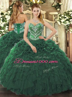 New Style Ball Gowns Quinceanera Dress Dark Green Sweetheart Tulle Sleeveless Floor Length Lace Up