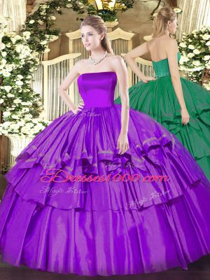 Eggplant Purple Organza and Taffeta Zipper Strapless Sleeveless Floor Length Quinceanera Dresses Ruffled Layers