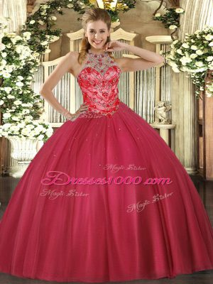Delicate Coral Red Halter Top Lace Up Beading Quinceanera Gown Sleeveless