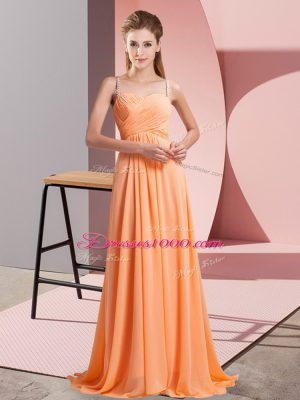 Beading Prom Dresses Orange Red Backless Sleeveless Floor Length