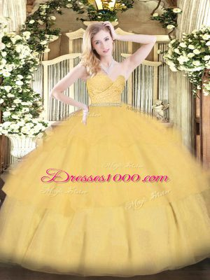 Customized Gold Vestidos de Quinceanera Military Ball and Sweet 16 and Quinceanera with Beading and Lace and Ruffled Layers Sweetheart Sleeveless Zipper