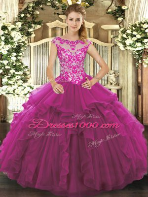 Fuchsia Sleeveless Beading and Ruffles Floor Length Quinceanera Dress