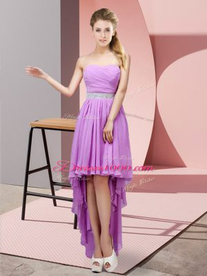 Deluxe Lavender Party Dress Prom and Party with Beading Sweetheart Sleeveless Lace Up