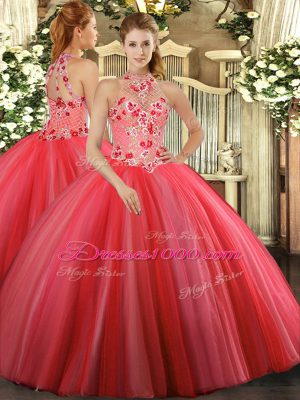 Romantic Coral Red Sleeveless Tulle Lace Up Ball Gown Prom Dress for Military Ball and Sweet 16 and Quinceanera