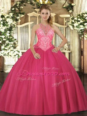 Romantic Hot Pink Quince Ball Gowns Military Ball and Sweet 16 and Quinceanera with Beading High-neck Sleeveless Lace Up