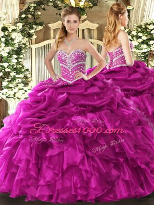 Fuchsia Sweet 16 Dress Military Ball and Sweet 16 and Quinceanera with Beading and Ruffles and Pick Ups Sweetheart Sleeveless Lace Up