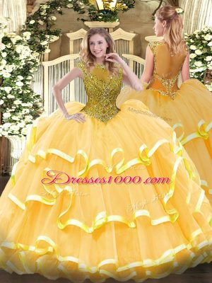 Cap Sleeves Floor Length Beading and Ruffled Layers Zipper Quinceanera Dresses with Gold