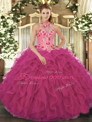 Floor Length Ball Gowns Sleeveless Hot Pink 15th Birthday Dress Lace Up