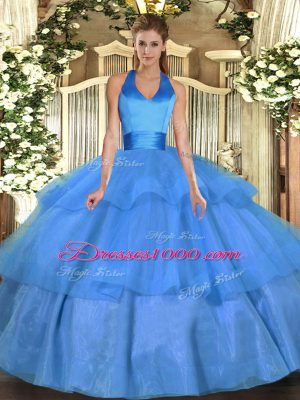 Free and Easy Baby Blue Halter Top Neckline Ruffled Layers Vestidos de Quinceanera Sleeveless Lace Up