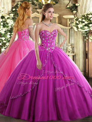Sophisticated Sleeveless Brush Train Lace Up Appliques and Embroidery 15 Quinceanera Dress