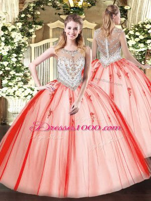 Custom Made Sleeveless Beading and Appliques Zipper 15 Quinceanera Dress