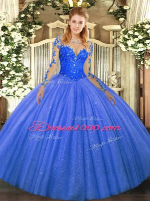 Decent Blue Long Sleeves Floor Length Lace Lace Up Quinceanera Dresses