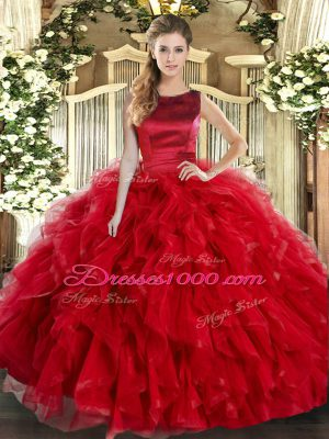 Red Ball Gowns Scoop Sleeveless Tulle Floor Length Lace Up Ruffles Quinceanera Gown