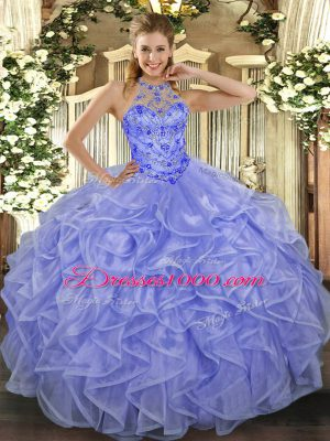 Smart Lavender Sleeveless Asymmetrical Beading and Ruffles Lace Up Quinceanera Gown
