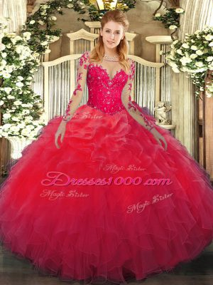 Hot Sale Floor Length Red 15 Quinceanera Dress Organza Long Sleeves Lace and Ruffles