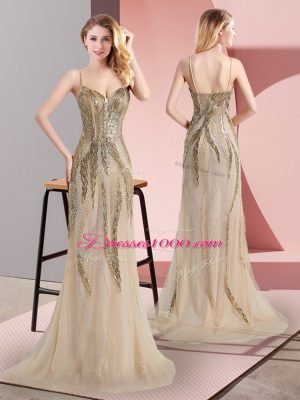 Glamorous Sleeveless Beading Side Zipper Custom Made with Champagne Sweep Train