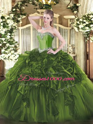 Flirting Olive Green Ball Gowns Sweetheart Sleeveless Organza Floor Length Lace Up Beading and Ruffles 15th Birthday Dress